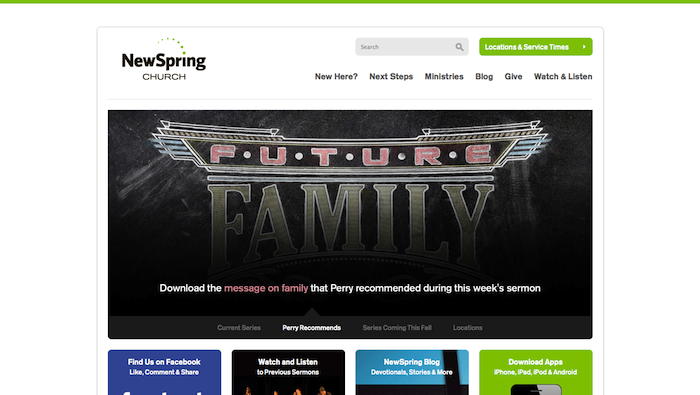 New Spring Church 15 of the Best Church Website Designs - 2013 15 of the Best Church Website Designs – 2013 NewSpring Church 20130620 122736