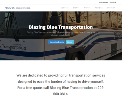 Blazing Blue Transportation [object object] Our Work bbt home